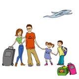Lycklig familj med sommarturen, semestrar, ferie, lopp Destin stock illustrationer