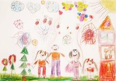 Lycklig familj med två barn för en gå Fotografering för Bildbyråer