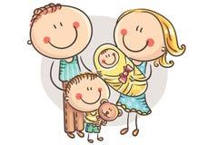 Lycklig familj med två barn, tecknad filmdiagram royaltyfri illustrationer