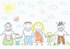 Lycklig familj - moder, fader, son, dotter, farmor, tusen dollar Royaltyfri Foto