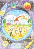Lycklig familj mot bakgrunden av jorden Förälskelse hjärta, ärta Arkivbilder