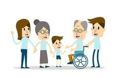 Lycklig familj- och åldringomsorg Arkivfoton