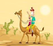Lycklig familj på kamelritt Fotografering för Bildbyråer