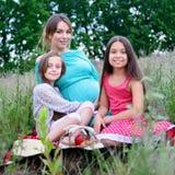 Lycklig familj på picknick Arkivfoto