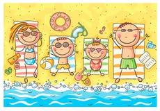 Lycklig familj på sjösidan Arkivbilder