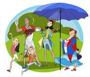 Lycklig familj på picknick Arkivbilder