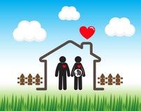 Lycklig familj (pinnemannen och pinnekvinnan med foster- i livmoder) royaltyfri illustrationer