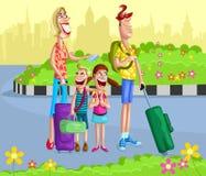 Lycklig familj som går för semester Arkivfoto