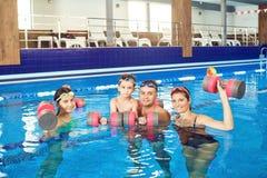 Lycklig familj som gör övningar med hantlar i en simbassäng fotografering för bildbyråer