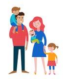 Lycklig familj som gör gyckel, par med ungar vektor illustrationer