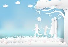 Lycklig familj som har gyckel i ängen, lycklig konst för förälderdagpapper vektor illustrationer