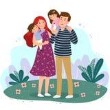 Lycklig familj som har gyckel tillsammans i parkera F?r?ldrar med tv? ungar royaltyfri illustrationer