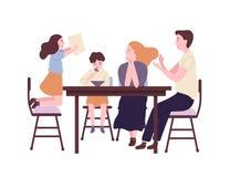 Lycklig familj som sitter p? den ?ta middag tabellen och har frukosten, lunch eller matst?llen Le modern, fadern, sonen och dotte royaltyfri illustrationer