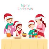 Lycklig familj som tillsammans bakar muffin stock illustrationer