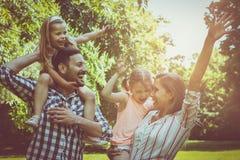 Lycklig familj som tillsammans spelar i ängen och tycker om i summa arkivfoton