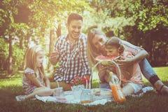Lycklig familj som tillsammans tycker om i picknick Familj i äng Arkivbild