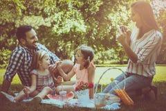 Lycklig familj som tillsammans tycker om i picknick Familj i äng mal Royaltyfri Fotografi