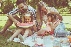 Lycklig familj som tillsammans tycker om i picknick Royaltyfri Fotografi
