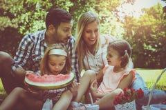 Lycklig familj som tillsammans tycker om i picknick Arkivfoton