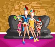 Lycklig familj som tycker om filmen 3d Arkivbild