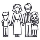 Lycklig familj, son, moder, fader, dottervektorlinje symbol, tecken, illustration på bakgrund, redigerbara slaglängder Arkivbilder