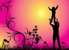 Lycklig familj, vektor Arkivfoton