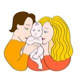 Lycklig familjbild Nyfödda barnföräldrar som rymmer, behandla som ett barn vektor Arkivfoton