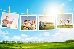 Lycklig familjcollage royaltyfria bilder