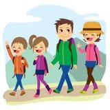 Lycklig familjklättring vektor illustrationer