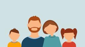 Lycklig familjstående: föräldrar och barn på den blåa bakgrunden vektor illustrationer