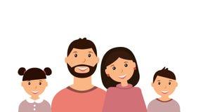 Lycklig familjstående: föräldrar och barn på den vita bakgrunden stock illustrationer