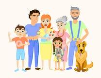 Lycklig familjstående för tecknad film med katten och hunden Arkivfoto