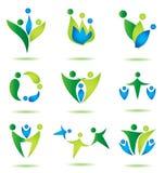 Lycklig familjsymbolssamling, logodesign Arkivbilder