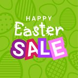 Lycklig ferie för designen för den påskSale reklambladet avfärdar banret med dekorativ äggbakgrund royaltyfri illustrationer
