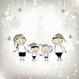 lycklig ferie för julfamilj som tillsammans ler vektor illustrationer