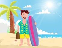Lycklig ferie för ung man på stranden vektor illustrationer