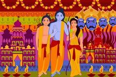 Lycklig ferie för forIndia för Dussehra festivalbakgrund Arkivbild