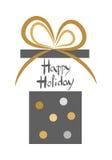 lycklig ferie Tappning dekorerad öppen gåvaask vektor illustrationer