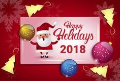 Lycklig ferieaffisch 2018 med begrepp för kort Santa And Christmas Tree Balls för nytt år Arkivbilder