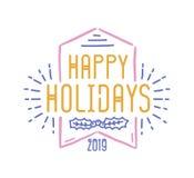 Lycklig ferieinskrift som är skriftlig med den dekorativa calligraphic stilsorten Dekorerade handskriven festlig önska eller boks stock illustrationer