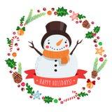 Lycklig ferietecknad filmsnögubbe i en hatt med kortet för julkransvektor stock illustrationer