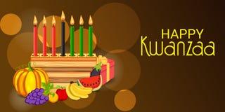 Lycklig festival för ferie för Kwanzaa berömafrikansk amerikan av skörden stock illustrationer