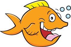 Lycklig fisk för tecknad film med bubblor royaltyfri fotografi