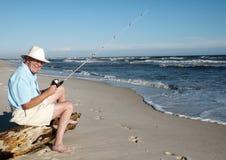lycklig fiskare Royaltyfria Foton