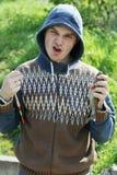 lycklig fiskare royaltyfri bild