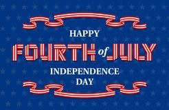 Lycklig fjärdedel av det Juli självständighetsdagenbanret för USA nationell ferie Royaltyfria Bilder