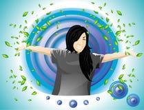 lycklig flicka Vektor Illustrationer