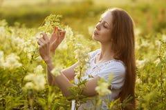 Lycklig flicka bland de höga vildblommorna Royaltyfria Bilder