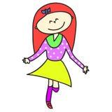 Lycklig flicka för Hand-drawn tecknad film Royaltyfri Foto