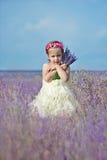 Lycklig flicka i fält Royaltyfria Bilder